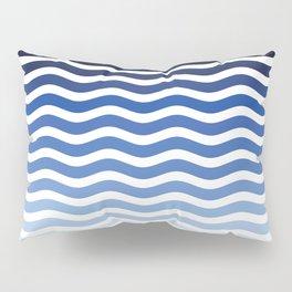 Ocean waves navy blue striped pattern, minimalist summer waves Pillow Sham