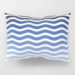Ocean waves, nautical, blue stripes, sea, striped pattern, minimalist summer waves Pillow Sham