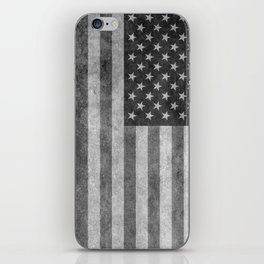 American flag - retro style in grayscale iPhone Skin