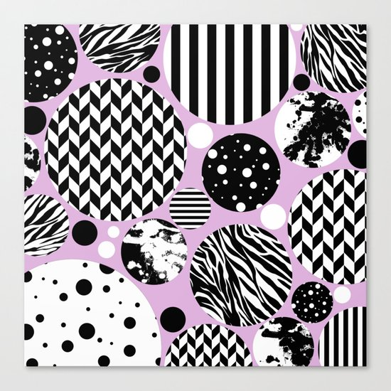 Eclectic Black And White Circles On Pastel Pink Canvas Print