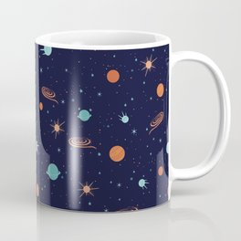 Satellite with planets and stars in endless black space Coffee Mug