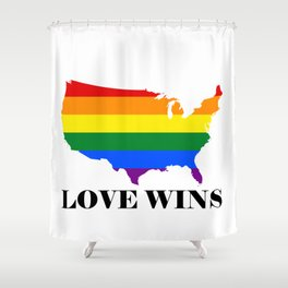 Love Wins Map White Background Black Text Shower Curtain