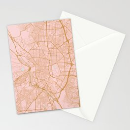 Pink and gold Madrid map, Spain Stationery Cards