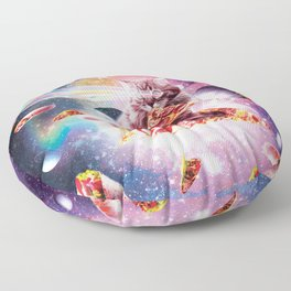 Outer Space Pizza Cat - Rainbow Laser, Taco, Burrito Floor Pillow