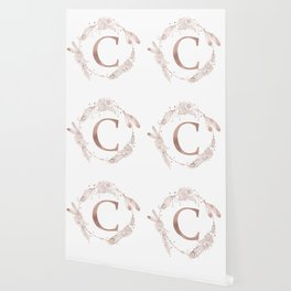 Letter C Rose Gold Pink Initial Monogram Wallpaper