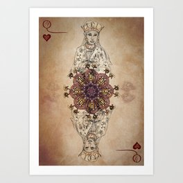 Arabesque Deck of Cards Queen Hearts Art Print