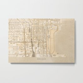 Vintage map of Chicago Illinois in sepia Metal Print