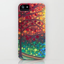 Winter sunset dot art by Mandalaole iPhone Case