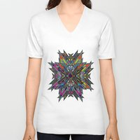 stained glass V-neck T-shirts featuring Stained Glass by superferretIX