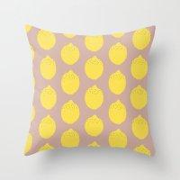 lemon Throw Pillows featuring Lemon by Grace