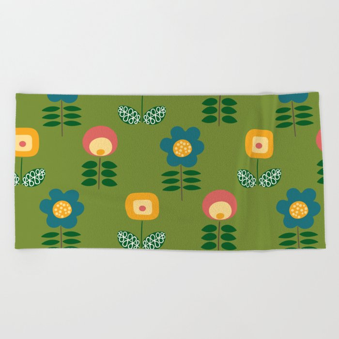 Mid Century Flowers (green) Beach Towel