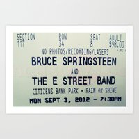 springsteen Art Prints featuring Bruce Springsteen & the E Street Band: Rain or Shine by Christine Leanne