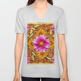 Celtic Design Yellow Art Purple Dahlias Design Pattern Unisex V-Neck