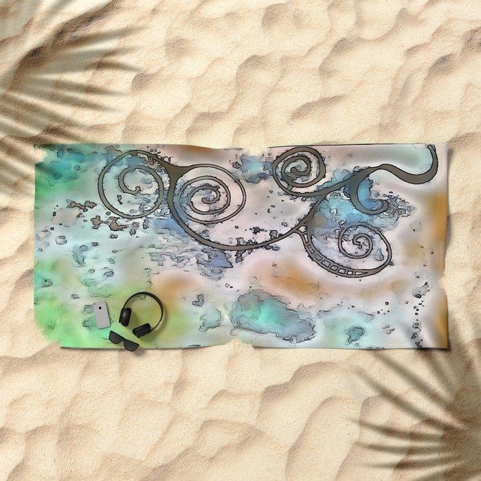 Vintage swirl Beach Towel