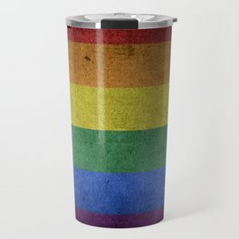 Grunge LGBT Rainbow Flag Travel Mug