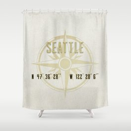 Seattle - Vintage Map and Location Shower Curtain