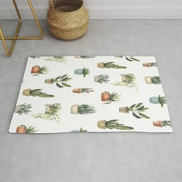 Potted Plants Watercolor Pattern Rug