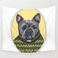 french bulldog Wall Tapestries featuring French Bulldog by Rhian Davie
