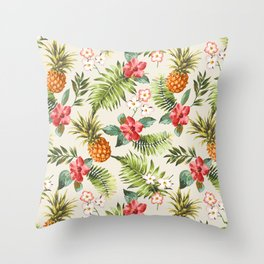 pineapple with tropical flower Throw Pillow
