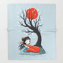 Girl and a Fox 2 Throw Blanket