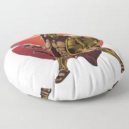 Spartan Warrior   Sparta Greek Fighter Sword Power Floor Pillow