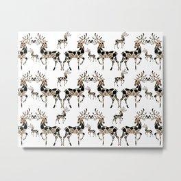 Fancy Rose-Gold and Black Mandala Reindeer Pattern Metal Print