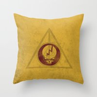 deathly hallows Throw Pillows featuring Grateful Deathly Hallows by jerbing