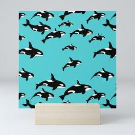 Orca Whale Pattern on Blue Mini Art Print