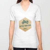 moto V-neck T-shirts featuring moto guzzi by Liviu Antonescu
