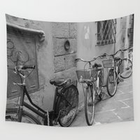 bicycles Wall Tapestries featuring Bicycles in Lucca by Ellie Mallen