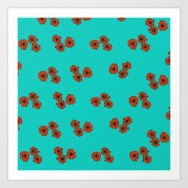 Poppy flower pattern on turquoise background Art Print