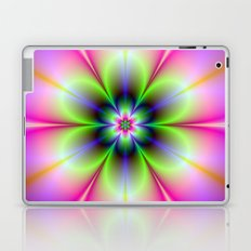 Neon Flower in Green and Pink Laptop & iPad Skin