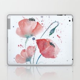 Red poppies in the sun floral watercolor painting Laptop & iPad Skin