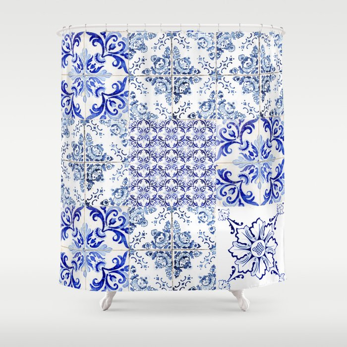 Azulejo VIII - Portuguese hand painted tiles Shower Curtain