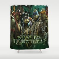 ninja turtle Shower Curtains featuring teen age,mutant,ninja turtle by store2u