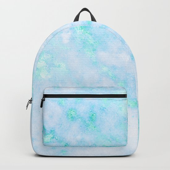 Blue Marble - Shimmery Turquoise Blue Sea Green Marble Metallic Backpack
