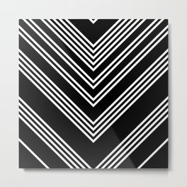 Back and White Lines Minimal Pattern No.3 Metal Print