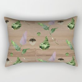 Floral Pattern on Wooden Table Rectangular Pillow