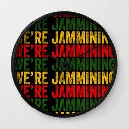 We're Jamming | Jamaican reggae  music lovers gift | Jamaica flag Wall Clock
