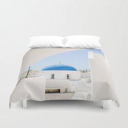Blue Church Dome on Santorini Island Greece Oia Duvet Cover