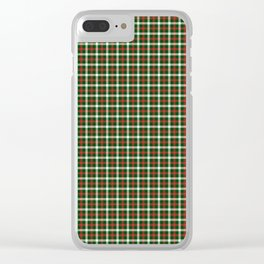 Christmas Holly Green and Red Tartan Check with Wide White Lines Clear iPhone Case