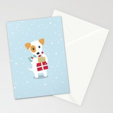 Cute Christmas dog holding a stack of gifts Stationery Cards