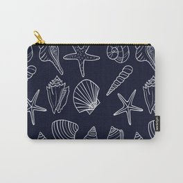 Navy Blue And White Seashell pattern Carry-All Pouch