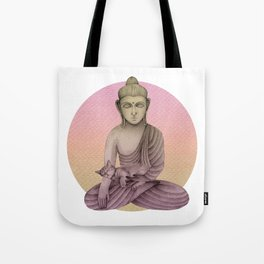 Buddha with cat 6 Tote Bag