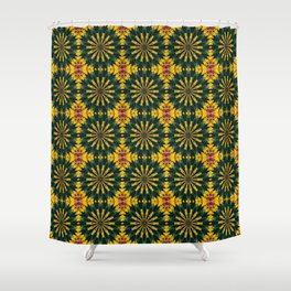 Green and Yellow Rich Colored Floral Tiled Pattern Shower Curtain