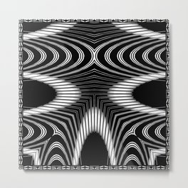 Geometric Black and White Skeleton African-Inspired Pattern Metal Print