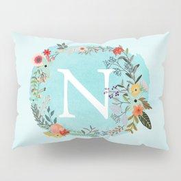 Personalized Monogram Initial Letter N Blue Watercolor Flower Wreath Artwork Pillow Sham