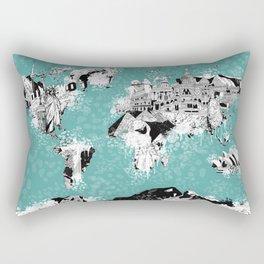 World map landmark collage Rectangular Pillow