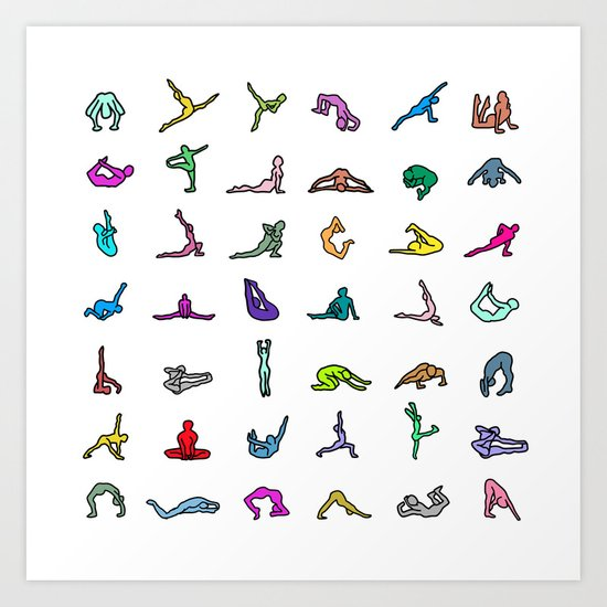 Rainbow Yoga Poses Art Print