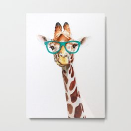 Hipster Giraffe with Glasses Painting Metal Print